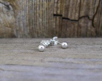 Vintage 925 Sterling Silver 4mm Ball Stud Earrings