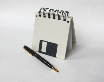 Floppy Disk Notebook - Geek Book - Recycled Computer Diskette - Antique White
