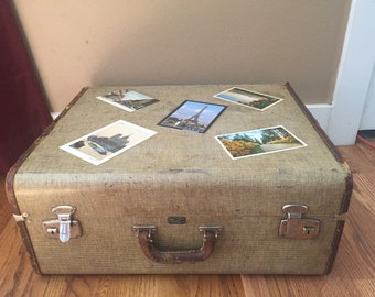 MEMORIAL HOLIDAY SALE - Vintage Suitcase, Leather trimmed hardcase luggage