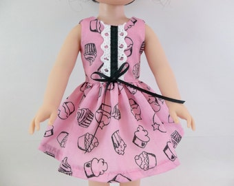 "Doll Dress for 14.5"" Doll Pink Cupcake Sleeveless Dress Fits Wellie Wishers and Similar Dolls"