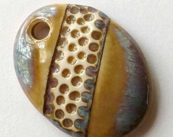 Ceramic Pendant, Oval Pendant, Clay pendant, Brown Pendant, Ceramic Charm, Jewelry Pendant, Jewelry Focal, Ceramic Focal, Ceramic Bead
