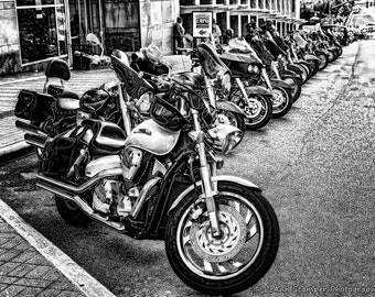 Harley Davidson,Motorcycle,Raleigh,North Carolina,Black and White,Sepia,Wall Art,Home Decor,Office Decor,Canvas Print Option