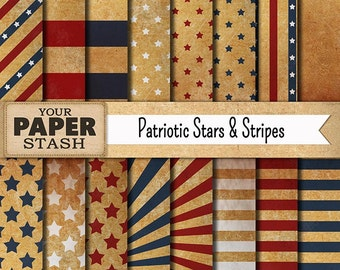 Patriotic Digital Paper, 4th of July Digital Paper, Vintage Style, Red White Blue, Stars & Stripes, Scrapbook Paper, Commercial Use, Digital