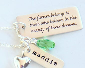 Birthday Gifts for Best Friend - Dream Necklace - Mantra Necklace - Sister Grad Gift-  Believe Necklace Sterling Silver - Gift For Teenager