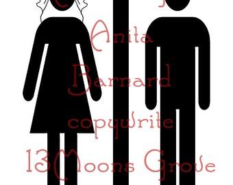 Toilettes de mariage imprimable - mariée et le marié