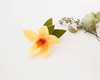 Yellow Daffodil Felt Flower, Handmade, Clip or Headband