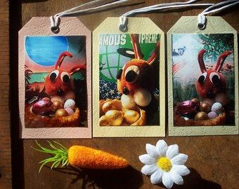 Gift tags,handmade,easter,bunny,real photos,unusual,retro,set of three