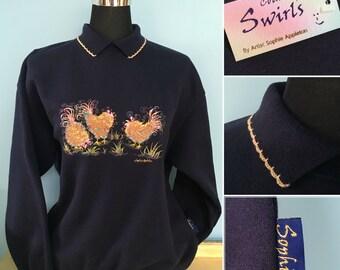 Chicken Navy sweatshirt with collar , quaint swirly detailed Embroidery , designed by artist Sophie Appleton ( U.K. artist ) Country Swirls