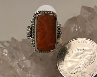 Orange Coral Ring Size 6 1/2