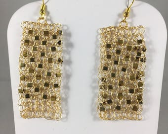 Gold sparkly hand crocheted from wire earrings