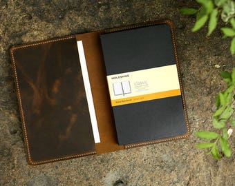 Leather notebook cover for moleskine classic notebook Large size / retro leather cover case for moleskine Large Cahier Volant Journal MA505S