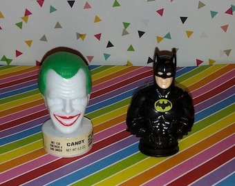 Vintage Lot of 2 1989 Tim Brton's Batman and Joker Candy Containers