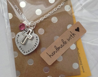 FIRST Communion Girl Gift Hand Stamped heart necklace. Communion Necklace. First Communion.  Cross charm and Birthstone Crystal