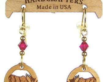 Handcrafters Jewelry MOOSE EARRINGS - Surgical Steel Ear Wires - Moose Laser Carved Wood Earrings - Gift for Her - Red Swarovski Beads