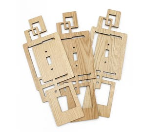 Modern Rustic Arts and Crafts Squares Wood Switch Plate Cover in Oak  (Single or Double)