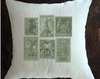 French Pillow Cover. French Linen Pillow. Vintage Stamp.  Modern Farmhouse. Fixer Upper Style. Farmhouse Pillow Cover.