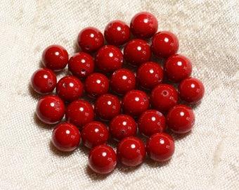 10pc - pearl beads 6mm red cherry (C10) - 8741140005211 balls