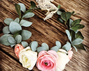 Flower Crown, Blush, Wedding Flower Crown, Bridal, Eucalyptus, Wedding, Kids, Floral Crown, Adult, Flowers, Boho Flower Wreath, Headband,