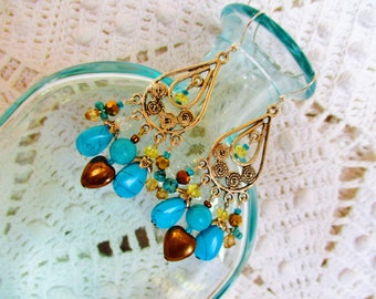 Silver turquoise chandelier earrings, silver, gold crystal, turquoise, copper heart chandelier earrings
