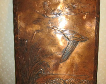 Copper tooled Goose Picture Cattails and lily pads