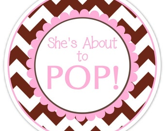 36 Baby Shower About to Pop labels, Pink and Brown Chevron, About to Pop Stickers, Baby Shower Labels