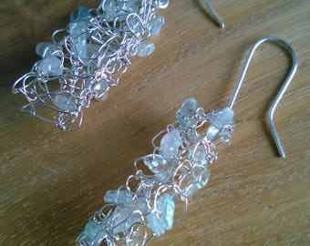 Silver earrings with aquamarine // for a bride // for her // as a gift