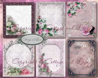 Cottage Chic Digital Backgrounds, Digital Shabby Roses Paper Pack   No 1168