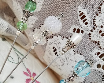 Victorian Antique Inspired Hat Pins Vintage Inspired Beads, Silver Findings, Beautiful Faceted Glass. 4 Hatpin Lot! STURDY! Display Or Use.