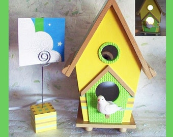 Nursery Nightlight Lamp for Wall or Table Yellow, Mint, Camel with matching Wire Photo Holder