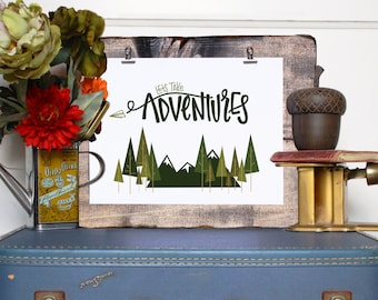 Lets Take Adventures // Digital Print // Handlettered Typographic Print