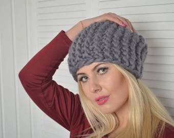 Merino wool hat, Chunky knit beanie, Chunky knit hat, Chunky Hat, Merino wool hat, Merino wool snood, Gray Hat, Super chunky hat, Hat, Snood