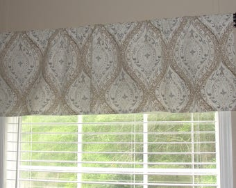 """Magnolia Home Fashions Ariana Linen Valance 50"""" wide x 16"""" long ivory, beige, tan and grey"""