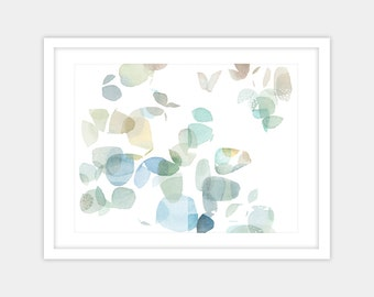Downloadable image, large abstract watercolor print, gold blue green wall art giclee print, spring home decor