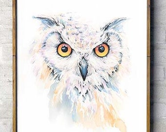 Watercolor Owl Painting Colorful Owl Art Print Archival