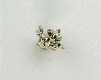 Sterling Silver 3-D A Flying Pig Charm or Jewelry