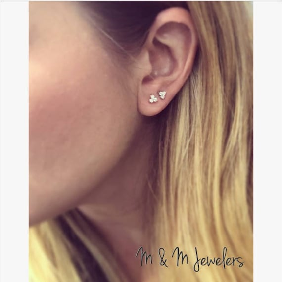 14K White and Rose Gold Tri Diamond Stud Earrings