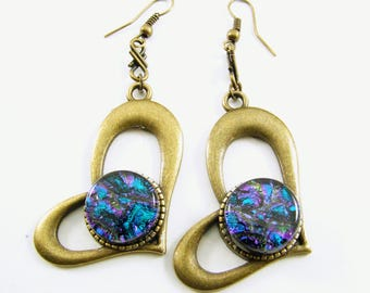 Antique Brass and Dichroic Glass Sideways Whimsical Heart Earrings