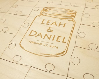 Wedding Puzzle Guest Book (Mason Jar) 32-400 Piece Wedding for Weddings, Guest Book Puzzle, Guestbook puzzle, Rustic, Laser Cut & Engraved