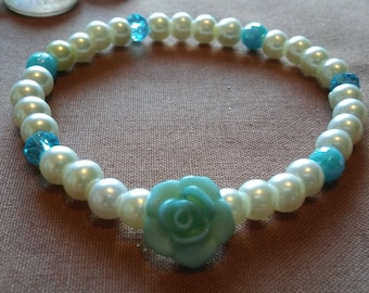 Baby Blue Rose With Pearl