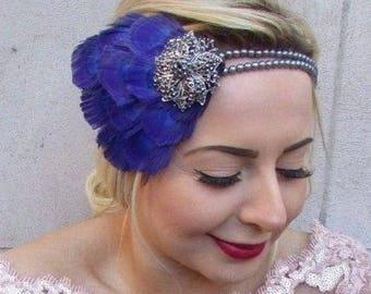Royal Blue Grey Pearl Feather Headpiece 1920s Headband Flapper Gatbsy Vtg 4722