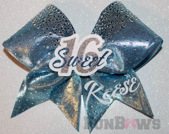 Beautiful Sweet 16 3-D cheer bow by FunBows