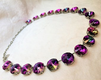 16mm crystal rivoli Necklace, set in antique silver
