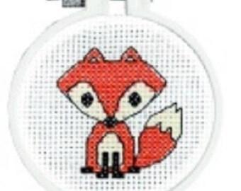 Janlynn Kid Stitch FOX Counted Cross Stitch Kit. Great for Beginners , counted cross stitch kit, embroidery , fox cross stitch kit
