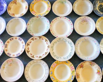 Job Lot of 7 Vintage Mismatched China Mix Pasta Plates Rimmed Rims Soup Bowls Set - Perfect Tableware for a Mad Hatters Party Wedding