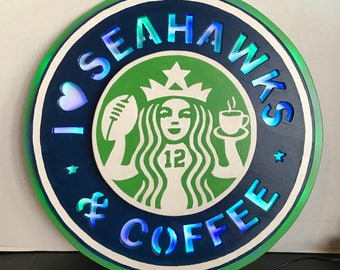 Seattle Seahawks and Coffee Sign