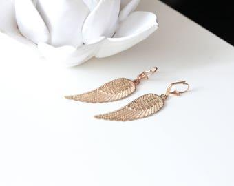 Pale Gold Wing  Earrings - Angel wings  - Angel wings earrings
