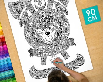Poster / Poster deco coloring (90cm) land of fire - coloring for adults