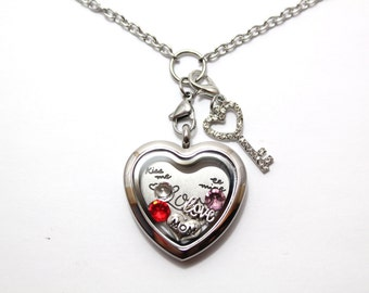 Stainless Steel Silver Heart Shaped Floating Locket, Top Selling Gift, Floating Locket Necklaces, Living Locket, Gift for Mom, Memory Locket