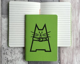 DISCONTINUED Small green ruled cat journal - featuring Dave the cat - hand-printed, hand-stitched green A6 pocket sized notebook