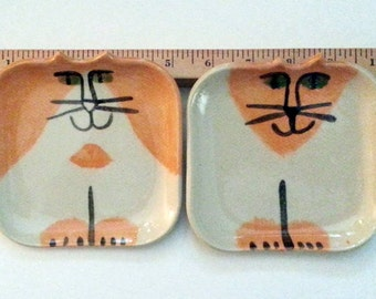 twin Cat pottery plate set 2:  square hand made ready to ship unique ceramic clay feline art cat lover Pet Resort decor